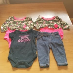 Garanimals Set of 3 Onesies and 1 Pants Size 0-3